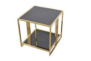 Details Zu 3026 Beistelltisch Schwarz Gold Couchtisch Sofatisch Tisch Wohnzimmertisch Glas