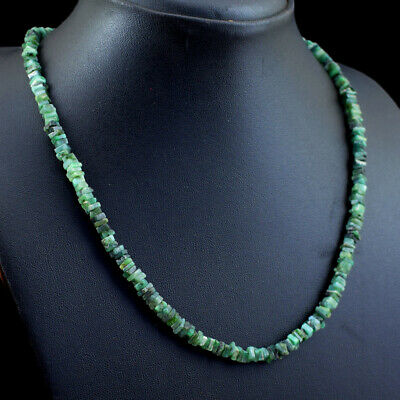 BEST QUALITY 415.00 CTS EARTH MINED RICH GREEN EMERALD BEADS NECKLACE STRAND