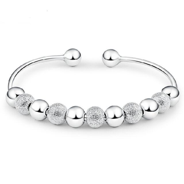 Women Silver Plated Beads Ball Bangle Cuff Bracelet Jewelry Valentine's Day Gift
