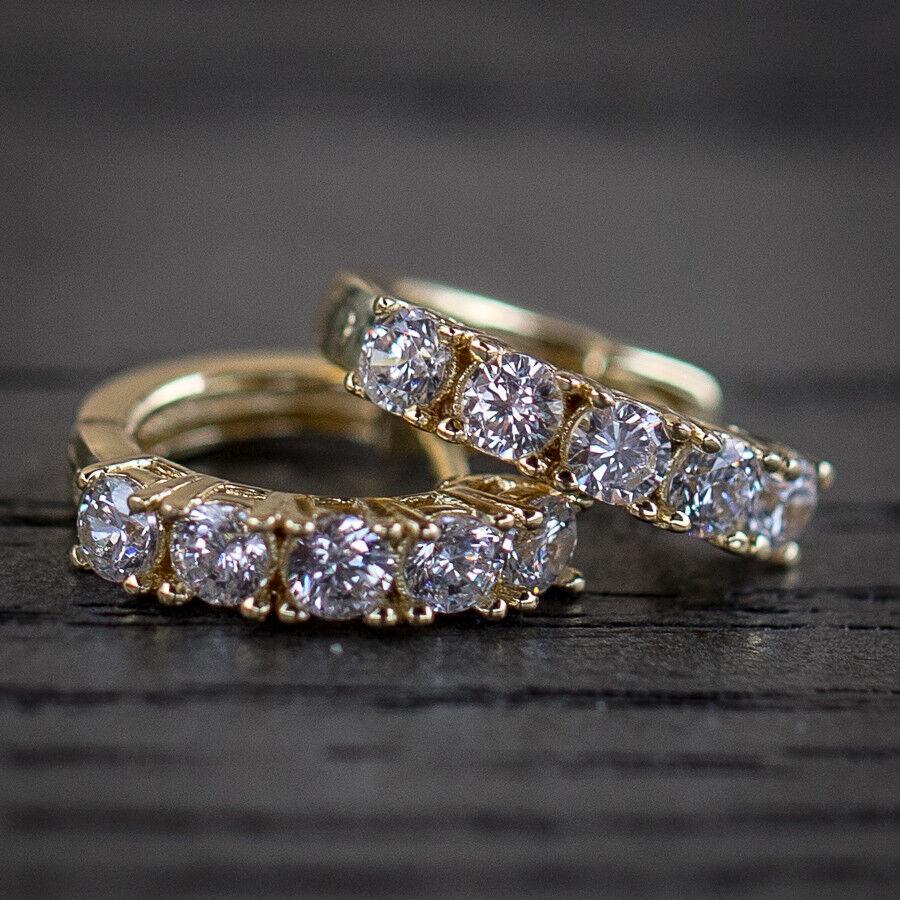 Men's Hip Hop Lab Diamond 14k Yellow gold Hoop Earrings