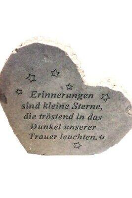 """Schnelle Lieferung Gedenkherz """"erinnerungen Sind..."""" Vidroflor Steinguss Friedhof Frostfest 08568 Rabatte Verkauf Historische Baustoffe"""