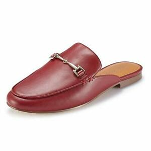 Women-s-RED-Mule-Flats-Shoes-Pointed-Toe-Backless-Slipper-Slip-On-Loafer-Shoes