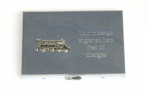 Steam Train Pocket Calculator Card Holder FREE ENGRAVING Train Driver Gift