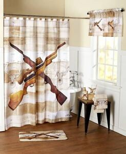 Hunting-Rifles-Deer-Cabin-Lodge-Outdoors-Bathroom-Decor-amp-Accessories-Choice