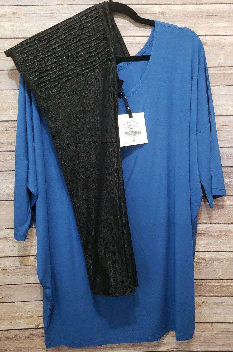 Agnes & Dora Outfit 3XL Dolman Tunic Azure Blau & 2XL schwarz Moto Jeggings  NWT