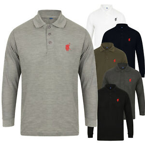 Homme-Polo-Shirt-Top-Long-Sleeve-Pique-Designer-Plain-T-shirt-Tee-Horse-Golf