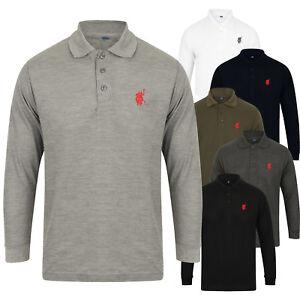 Nuevo-Top-Camisa-Polo-para-hombre-Manga-Larga-Pique-De-Disenador-Camiseta-Lisa-Camiseta-Caballo-Golf