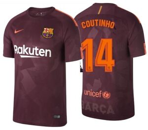 new concept 19320 c1f81 Details about NIKE PHILIPPE COUTINHO FC BARCELONA THIRD JERSEY 2017/18.
