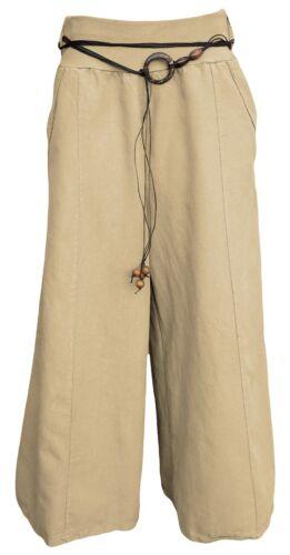 Schlupfhose 100/% Leinen Marlene-Hose Sommerhose weit mit Gummizug Culottes