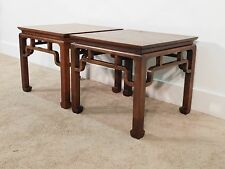Pair Baker Furniture Company Far East Collection Teak End Side Tables