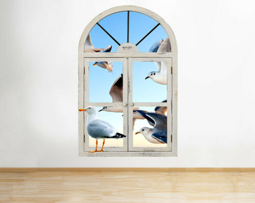 Wall Stickers Seagulls Bird Seaside Sky Hall Window Decal 3D Art Vinyl Room F878