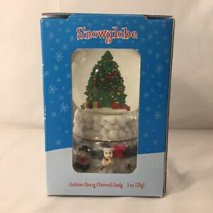 Vintage Christmas Snowglobe W/ Cherry Flavor Candy Houston Harvest Gift Products