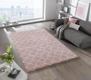 design velours teppich hochflor luna rosa creme ebay. Black Bedroom Furniture Sets. Home Design Ideas
