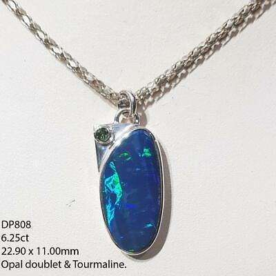 Australian Opal Doublet Gemstone Sterling Silver Necklace