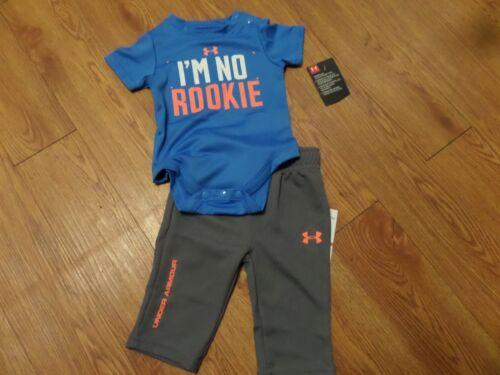 size 3//6 months-ss 1pc//pants blue//gray bnwt 2 pc infant boys under armour set