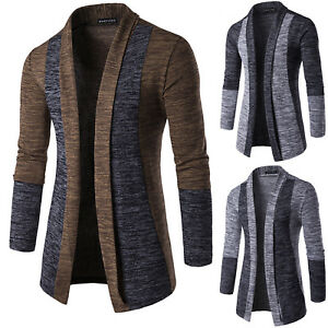 Details about Mens Slim Fit Knitted Cardigan Sweater Long Sleeve Casual Knitwear Jacket Coat