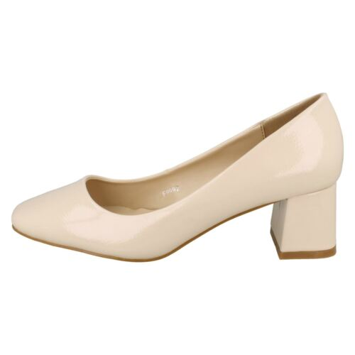 £22.99 Ladies F9992 Crinkle Patent Block Heel Court Shoes by Anne Michelle