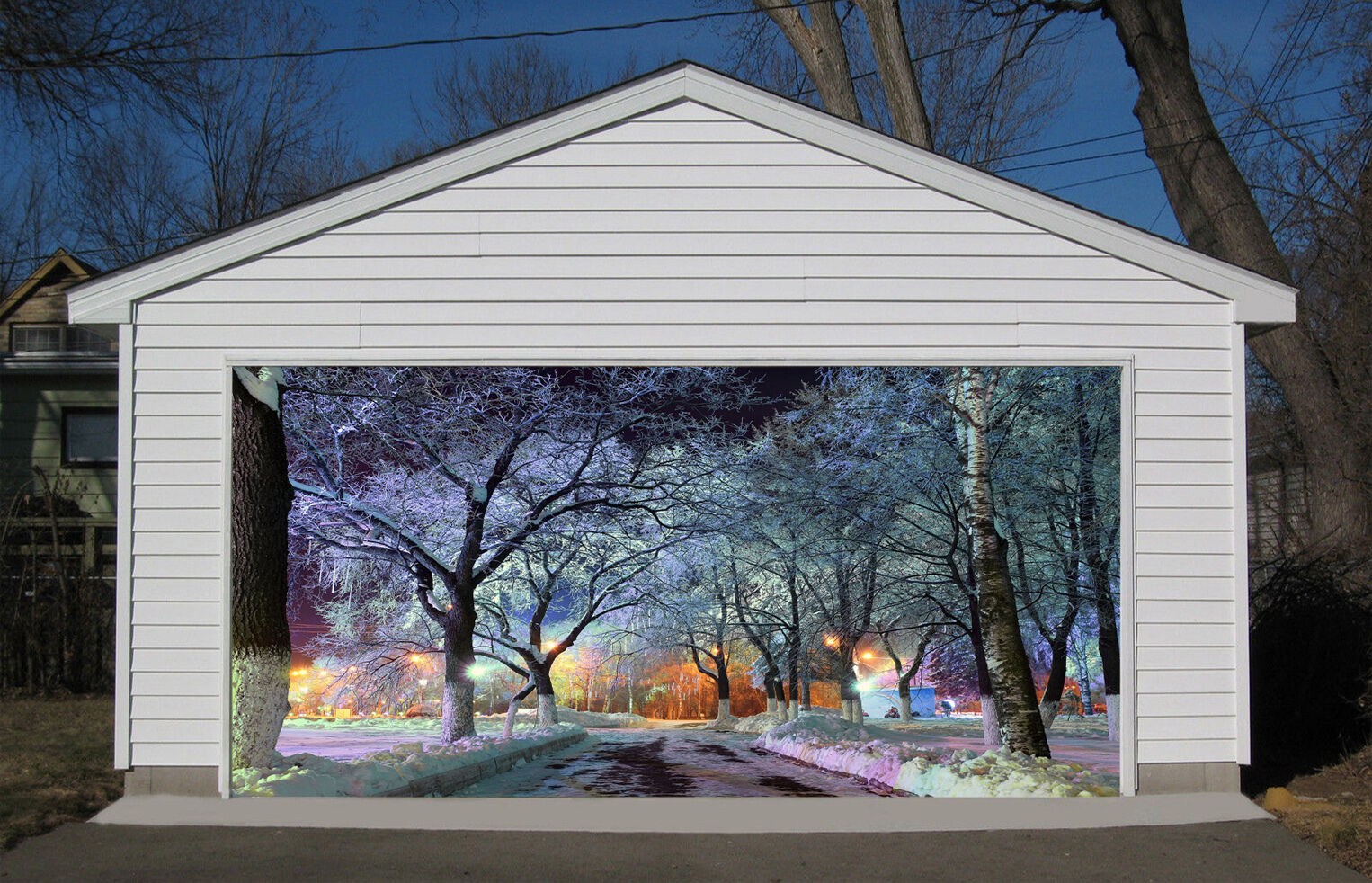 3D Snow, night view Door Murals Wall Print Decal Wall Deco AJ WALLPAPER UK