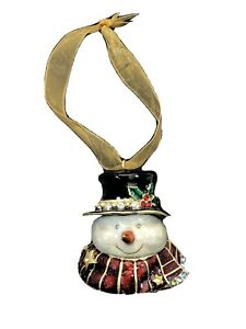 "Enamel 2.5"" Snowman Trinket Box with Crystals Christmas Ornament Decor"