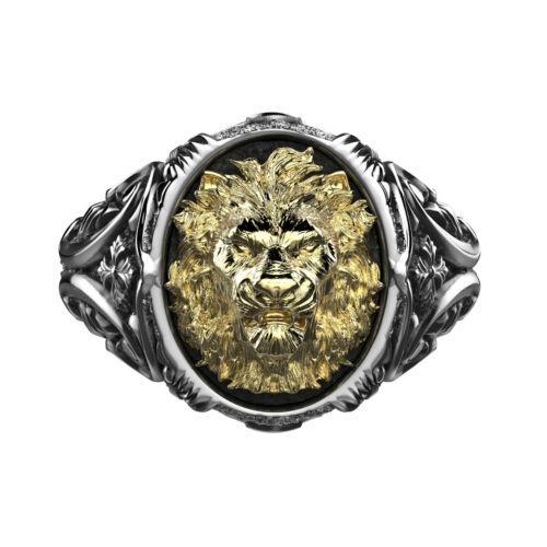 Bague chevalière tête de lion finition argent et or bijouterie By Mode France