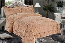 3 PC King THICK Luxurious Faux Fur Soft warm sherpa bed TAUPE Blanket CAPPACINO