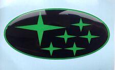 SUBARU BONNETT GRILL BADGE DOMED PLASTIC BLACK & LIME GREEN STARS NEWAGE 2001-07