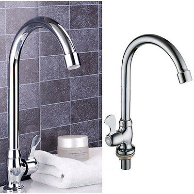 Chrome Plated Zinc Alloy Water Taps Basin Kitchen Wash Basin Single Cold Faucet