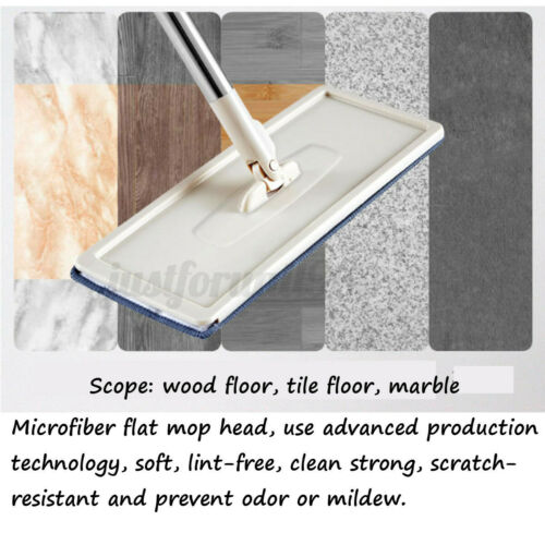 Squeeze Drying Cleaning Mop Bucket Free Hand Wringing Floor w// 4 Microfiber Pads
