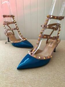 8830296a587d9 New Valentino Rockstud Blue Navy Patent Ankle Kitten Heel Shoes Size ...