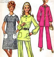 """Vintage 70s Mod DRESS Top PANTS Sewing Pattern UNCUT Bust 38"""" Sz 14 RETRO Party"""