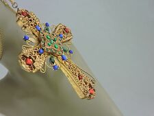 GOLD GILDED PECTORAL CHEST CROSS/NECKLACE/PENDANT LARGE ORNATE RESIN JEWELED B