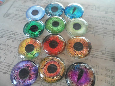 4 x 18mm Glass Eye Cameo Cabochons for Jewellery & Model Making,Assorted Colours