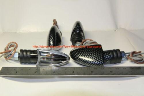 Motorcycle Blinker Signals Mini Arrow Ceflar Body Clear Lens Set Of 4