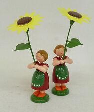 Straco 2 Blumenkinder, Mädchen mit Sonnenblume  Orig. Handwerkskunst/Erzgebirge