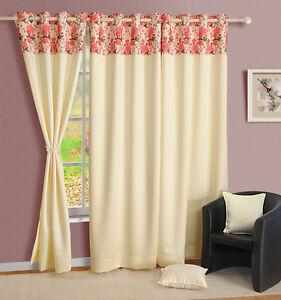 Swayam Cream Colour Solid PNP Blackout Eyelet Door Curtain - Window Curtain