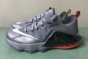 sports shoes d26a8 f24dd Image is loading Nike-LeBron-12-XII-Low-Wolf-Grey-White-
