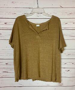 Poetry Women's Size 14 100% Linen Gold Short Sleeve Lagenlook Spring Top Blouse