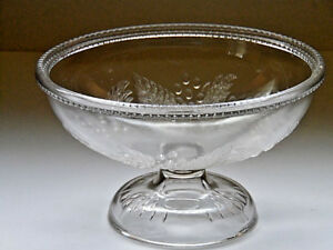 Antique-EAPG-McKee-Barberry-Clear-Glass-Compote-No-Lid-8-1-2-034-Diameter-c1880