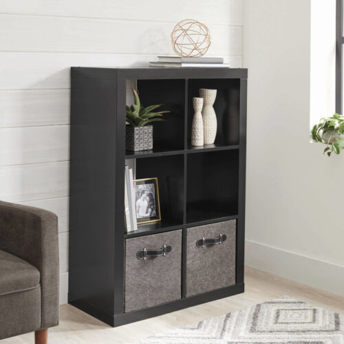 Solid Black Better Homes and Gardens 6 Cube Storage Organizer