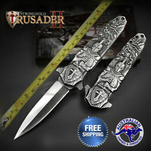MiddleAge-Crusader-Knight-Stiletto-Dagger-Knife-Folding-Hunting-Flipper-Pocket