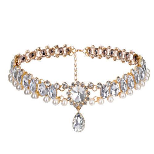 Women Crystal Necklace Statement Bib Pendant Charm Chain Choker Chunky Jewelry