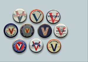 V-for-Victory-WWII-World-War-2-symbol-Pinback-buttons-pins-Set-of-10
