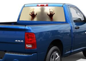 Zombie Behind The Glass Blood Rear Window Graphic Decal