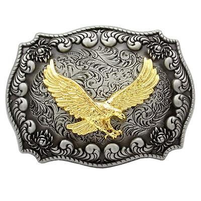 Rapimento Aquila Fibbia Della Cintura Antico Argento/oro Colore Inciso Fiore 3d Bird Of Prey-