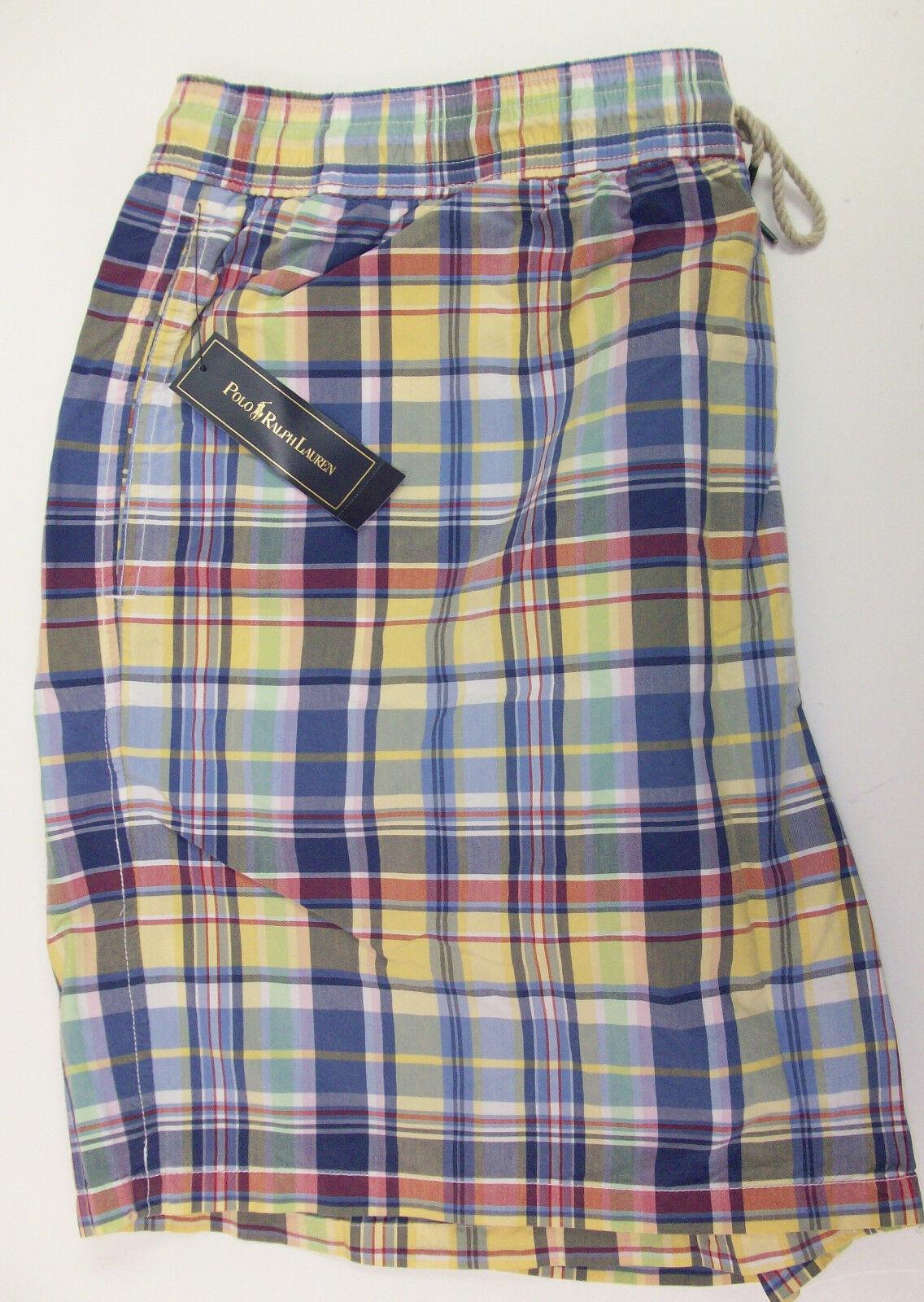 Polo Ralph Lauren Hawaiian Swimwear Trunks Shorts  bluee Yellow Pink Plaid NWT