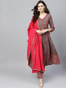 Indian-Women-Kurti-Dupatta-Palazzo-Set-Kurta-Cotton-Dress-Top-Tunic-Combo-Ethnic
