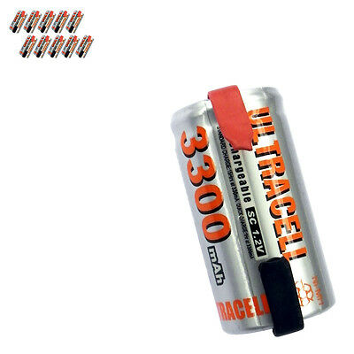 10 x Sub C 1.2V Volt 3300mAh NiMH Rechargeable Battery With Tabs Ultracell