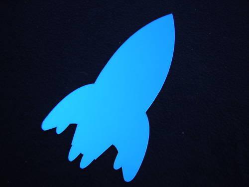 MIROIR STICKER COULEUR déco espace fusée bleu