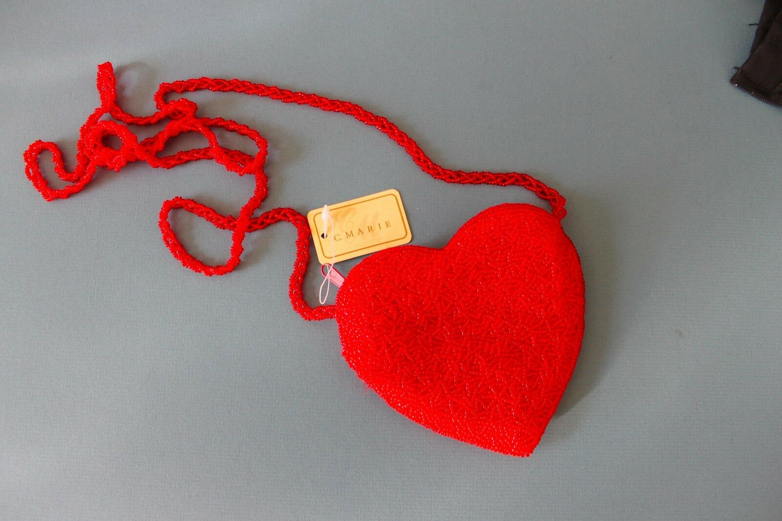 C. Marie Collection Red Beaded Heart Purse Super Cute NWT