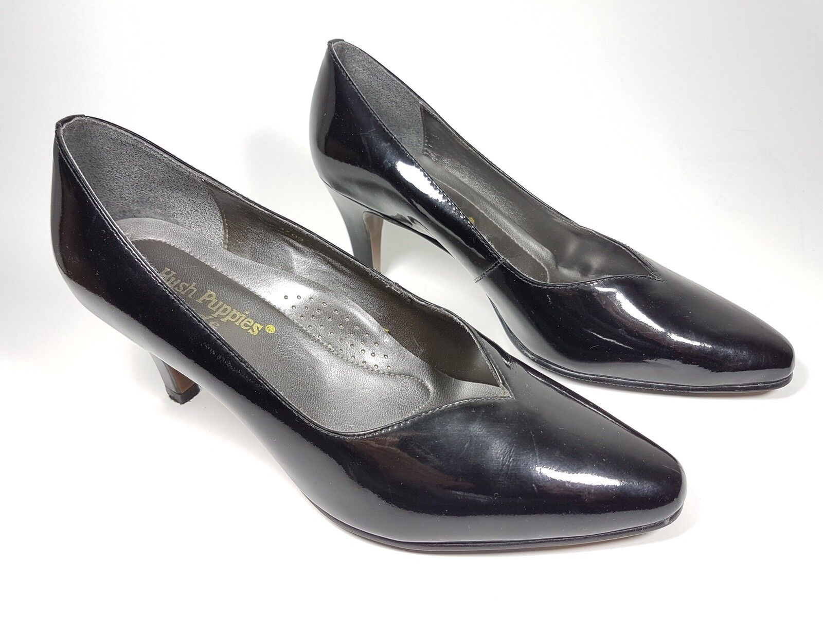Hush Puppies black shoes patent leather mid heel shoes black wide super condition 4c89f2